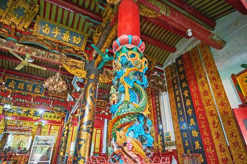 The carved column in  Long Shan Tang Clan Temple, Yangon, Myanmar