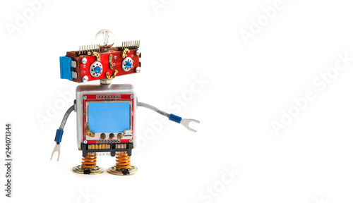 Creative design robot on white background Canvas Print