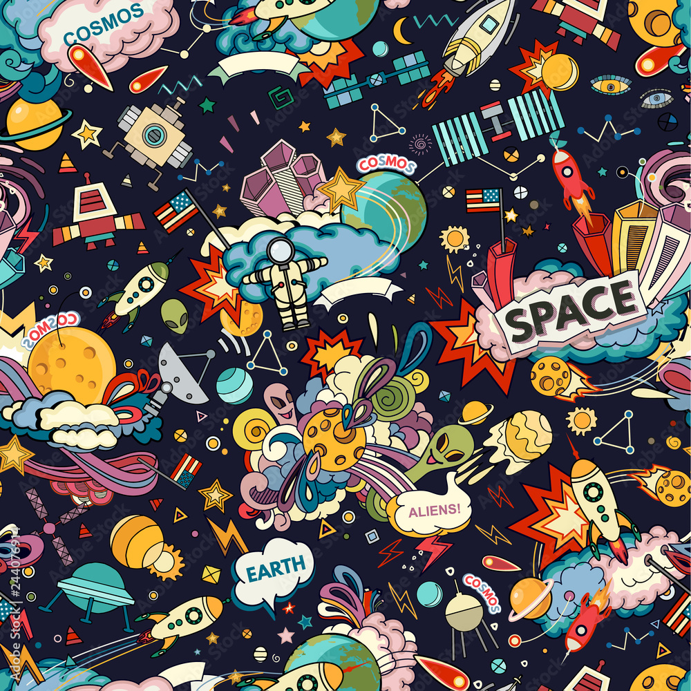 Cosmos Seamless Pattern