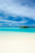 canvas print picture - tropical Maldives island with white sandy beach and sea