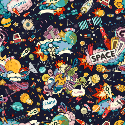 Cosmos Seamless Pattern Wallpaper Mural