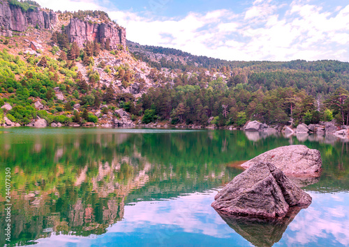 Lake in the Spanish province of Soria on a sunny day