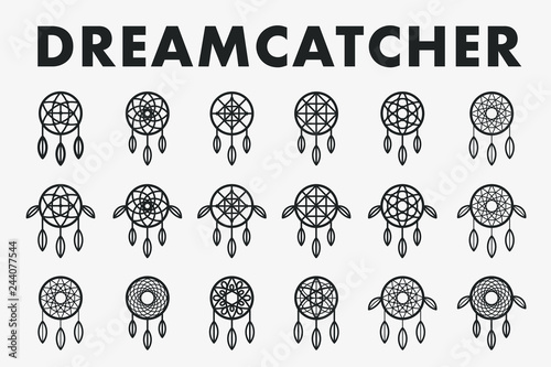 Photo sur Aluminium Style Boho Dreamcatcher Indian Ethnic Feather Ornament. Vector Flat Line Stroke Icon Set Collection. Dream Catcher Magic Symbol.