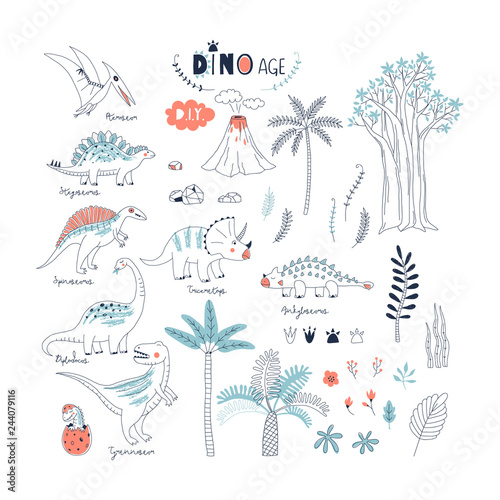 Fototapeta hand drawn Dinosaurs and prehistoric nature elements summer vector illustration