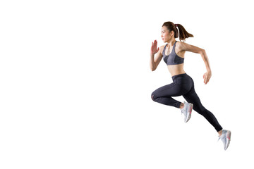 young asian fitness woman in sportwear  running  isolated on white background . excited runner , jumping  girl with copy space