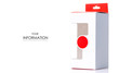 White box with red pattern on white background isolation
