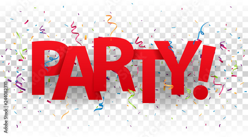 Valokuva  Party sign letters with colorful confetti