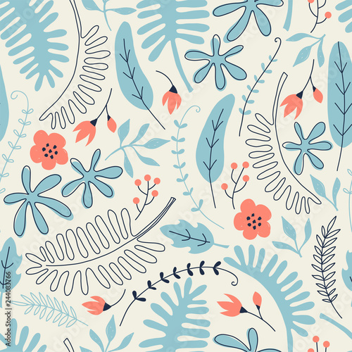 obraz lub plakat Hand drawn seamless pattern with tropical leaves and flowers. Perfect for kids fabric, textile, nursery wallpaper.