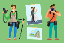 Photographers With Cameras And Photo Equipment