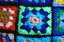 Multicolored Handmade Plaid Of Crochet Made Of Granny Squares