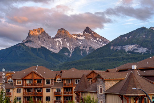 Canvas Prints Cappuccino The Three Sisters - A Spring sunset view of The Three Sisters mountain, seen from town of Canmore, Alberta, Canada.
