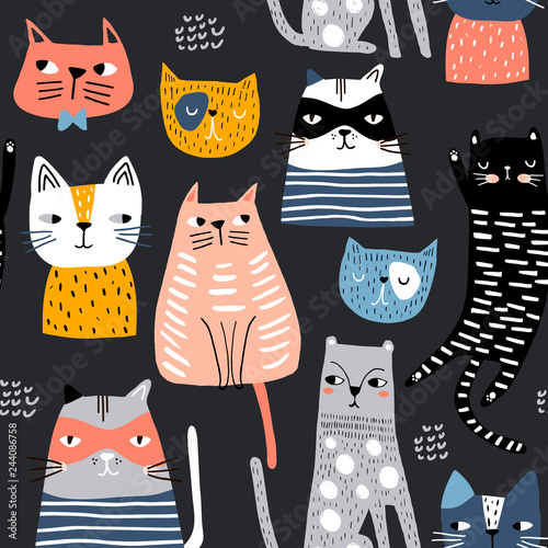 fototapeta na szkło Seamless pattern with cute Kittens in diferent style. Creative childish texture. Great for fabric, textile Vector Illustration