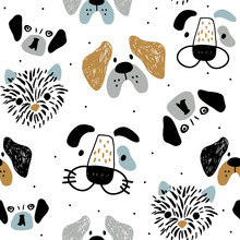 Childish Seamless Pattern With Funny Creative Dog Faces. Trendy Scandinavian Vector Background. Perfect For Kids Apparel,fabric, Textile, Nursery Decoration,wrapping Paper