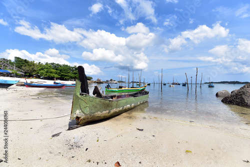 Traditional fishing  boats at Pantai Tanjung Kelayang Beach, Belitung Island, Indonesia