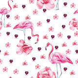 Tropical bird flamingo and roses seamless white background - 244087181