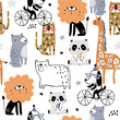 Seamless pattern with cartoon hand drawn bear,giraffe, dog,leopard, lion, panda. Creative childish pink texture. Great for fabric, textile Vector Illustration