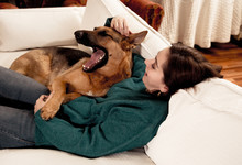Cute Portrait Of Young Woman And Dog German Shepherd Hugging At Cozy Home In Winter