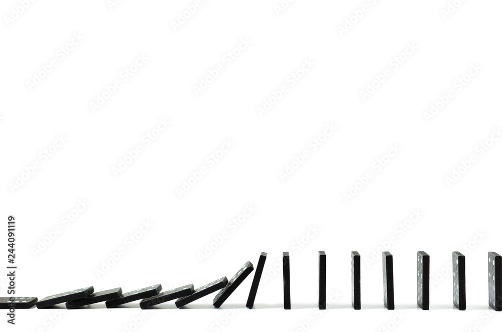 Fototapeta Black Domino on white background, drop, Domino effect, Hobbies and entertainment.