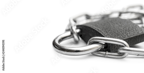 Photographie  Padlock with metal chain on white. Space for text.