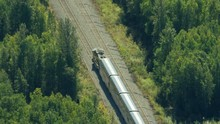 Aerial View Railroad Train Travelling To Fairbanks Alaska