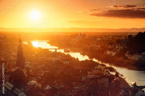 Poster Centraal Europa Heidelberg im goldenen Licht