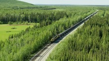 Aerial View Freight Train Near Nenana Alaska America