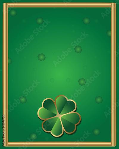 Fotografie, Obraz  Background-Shamrock with a Elegant Gold Frame