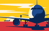 On a taxiway. Flat style vector illustration of the airliner at