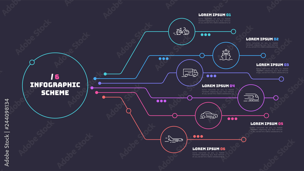 Fototapeta Thin line infographic scheme with 6 options. Vector template for
