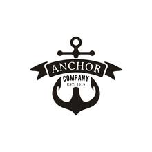 Retro Vintage Anchor With Ribbon Logo Design