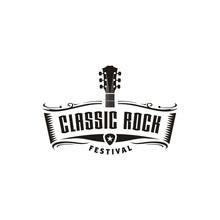 Classic Rock Country Guitar Music Vintage Retro Ribbon Banner Logo Design