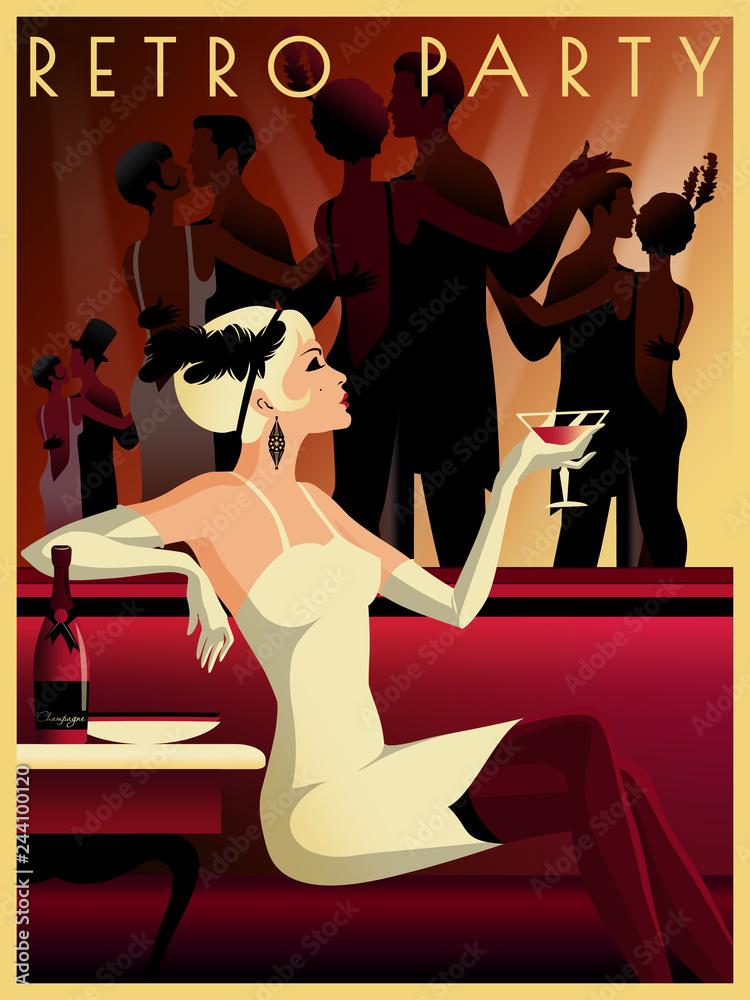 Dziewczyna z klapką w restauracji w stylu z początku XX wieku.