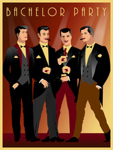 Four Gentlemen At A Party In The Style Of The Early 20th Century.