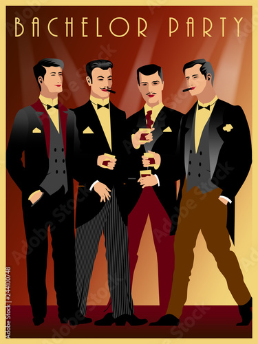 Fotografia  Four gentlemen at a party in the style of the early 20th century.