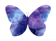 Watercolor Galaxy Butterfly Is...