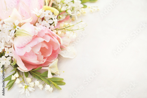 Spring blossoming tulips, bokeh flower background, pastel and soft floral card, selective focus, toned
