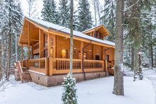 Snow-covered Beautiful Wooden ...