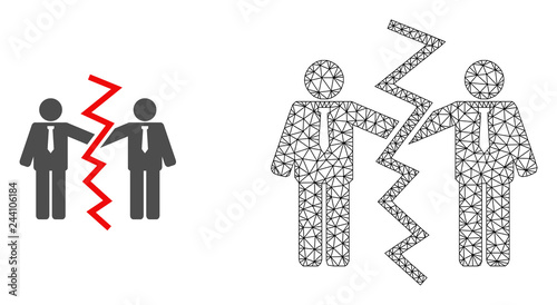 Polygonal mesh businessmen divorce and flat icon are isolated on a white background Canvas Print