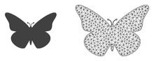 Polygonal Mesh Butterfly And Flat Icon Are Isolated On A White Background. Abstract Black Mesh Lines, Triangles And Dots Forms Butterfly Icon.
