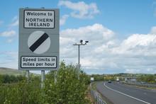 Republic Of Ireland And Northern Ireland Border Sign On M1 Motorway. Ireland. May 2017