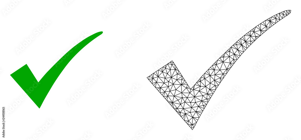 Fototapety, obrazy: Polygonal mesh confirm tick and flat icon are isolated on a white background. Abstract black mesh lines, triangles and dots forms confirm tick icon.