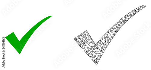 Obraz Polygonal mesh confirm tick and flat icon are isolated on a white background. Abstract black mesh lines, triangles and dots forms confirm tick icon. - fototapety do salonu