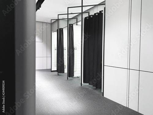 Foto Black and white interior fitting room in a clothing store