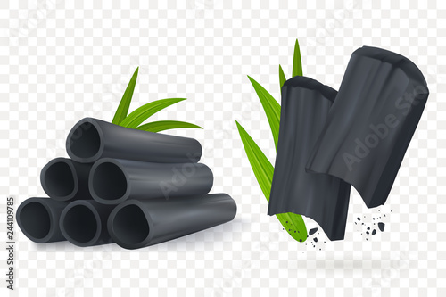 Bamboo charcoal vector illustration Wallpaper Mural