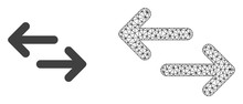 Polygonal Mesh Exchange Arrows And Flat Icon Are Isolated On A White Background. Abstract Black Mesh Lines, Triangles And Nodes Forms Exchange Arrows Icon.