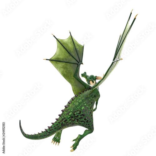 Cadres-photo bureau Dragons green dragon cartoon in a white background