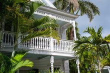 Scenic View Of Typical Wooden Conch House With Patio Overlooking Palm-lined Street In Old Town, Key West, Florida, USA