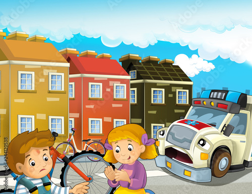 Cartoon Scene With Kids After Bicycle Accident And Ambulance Coming