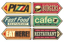 Retro Signs Collection.  Vintage Sign Posts Set For Cafe, Pizza, Burger And Fast Food Restaurant. Food And Drink Vectors Poster On Old Textured Background.