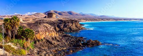 Fotoposter Canarische Eilanden landscapes of volcanic Fuerteventura - view with Toston tower in El Cotillo. Canary islands
